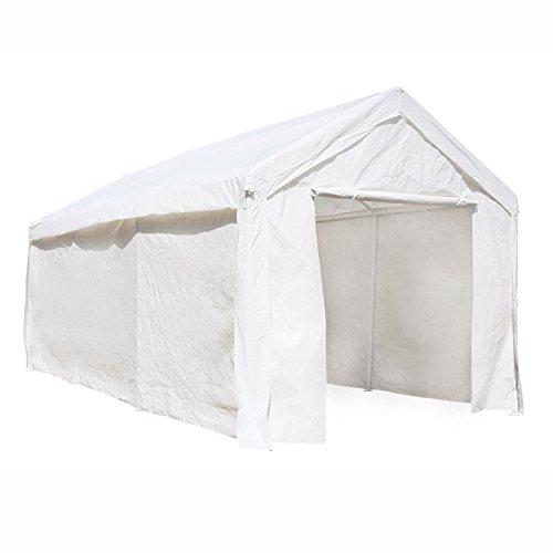 (ALEKO CP1020WH Outdoor Event Carport Garage Canopy Tent Shelter Storage with Sidewalls 10 x 20 x 8.5 Feet White)
