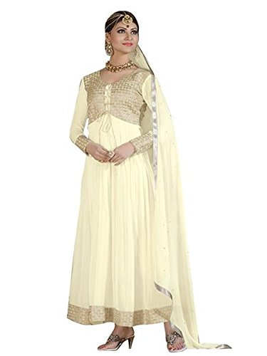 Vibes Women's Gorgette Salwar Suit Dress Material – Free Size, Beige