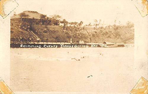 Swimming Events Thanksgiving Day Waterfront Real Photo Antique Postcard K432009