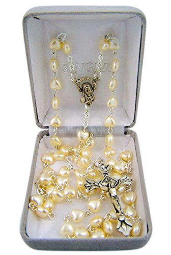 Catholic White Heart Shaped Prayer Bead Rosary Necklace, 24 Inch