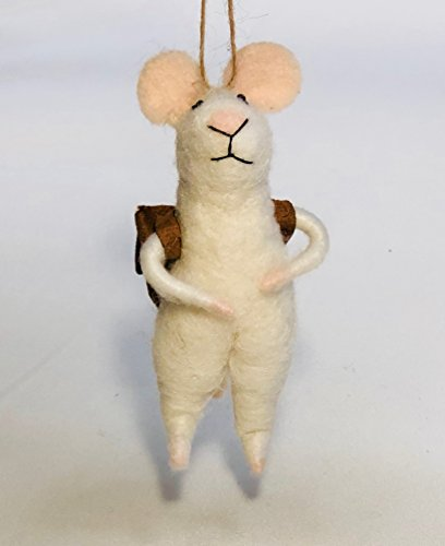 Handmade Needle Felted- Traveling Mouse- Animal Art. (Needle Felted Mouse)