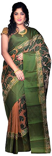 Bengal Handloom Saree Velvet Saree (Htss_Beige And Green)