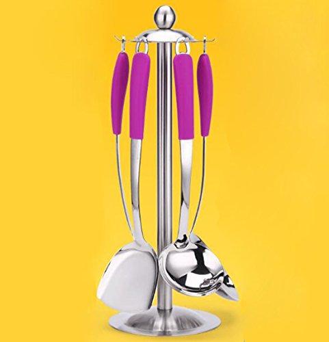 (OLQMY-304 Stainless Steel Kitchenware Seven Piece, Cooking, Shovel, Spoon, Colander, Frying Pan, Kitchen Utensils,Thicken Five Piece Set)