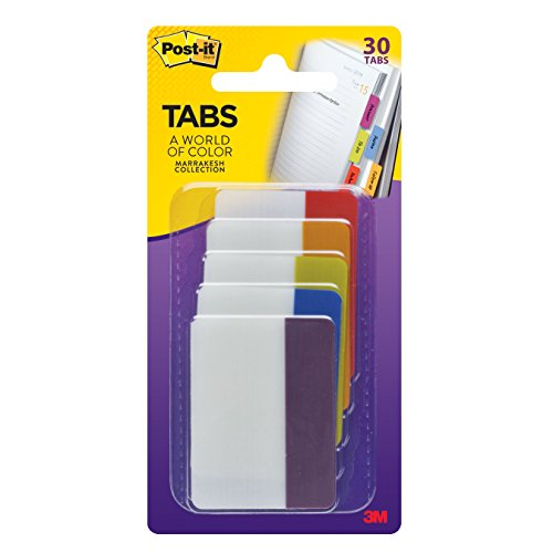 Post-it Tabs, 2-Inch Solid, Marrakesh Collection, 6-Tabs/Color, 5-Colors, 30-Tabs/Pack