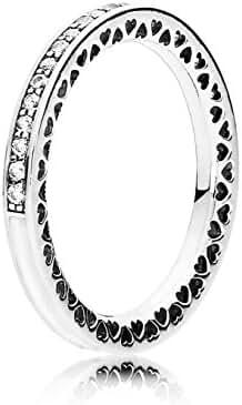 Pandora Radiant Hearts Ring, Silver Enamel & Clear CZ, 9 US, 191011CZ-60