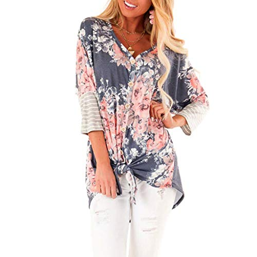 Tunics for Women to Wear with Leggings,YuhooSun Long Sleeve Tops Button Down Loose Flowy Shirts Printed Twist Knot Tee Navy