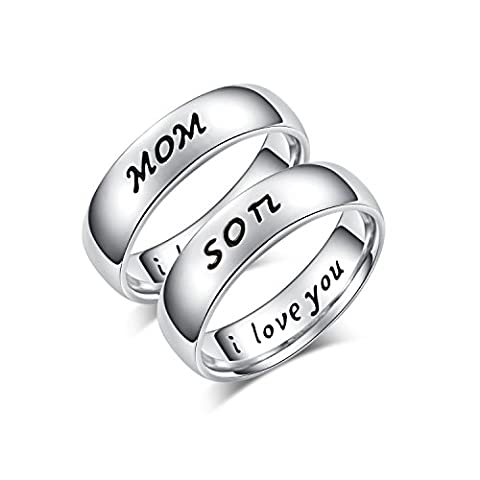Mother Daughter Son Jewelry Antique Family Band Rings Set Engraved ' I love you'(M6,S9) (Antique Ring Band)