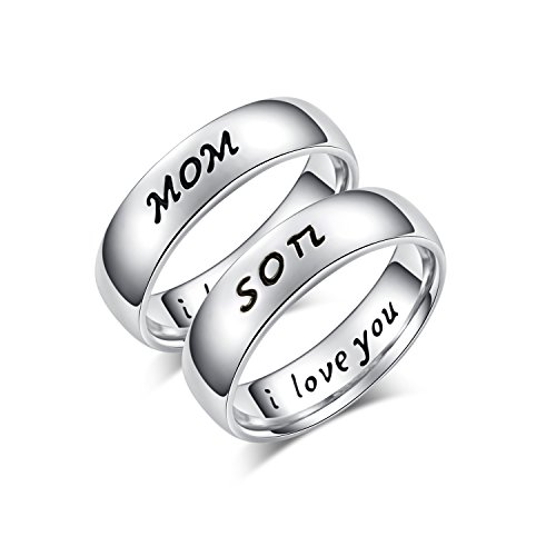 Mother Daughter Son Jewelry Antique Family Band Rings Set Engraved ' I love (Mother Son Costumes)
