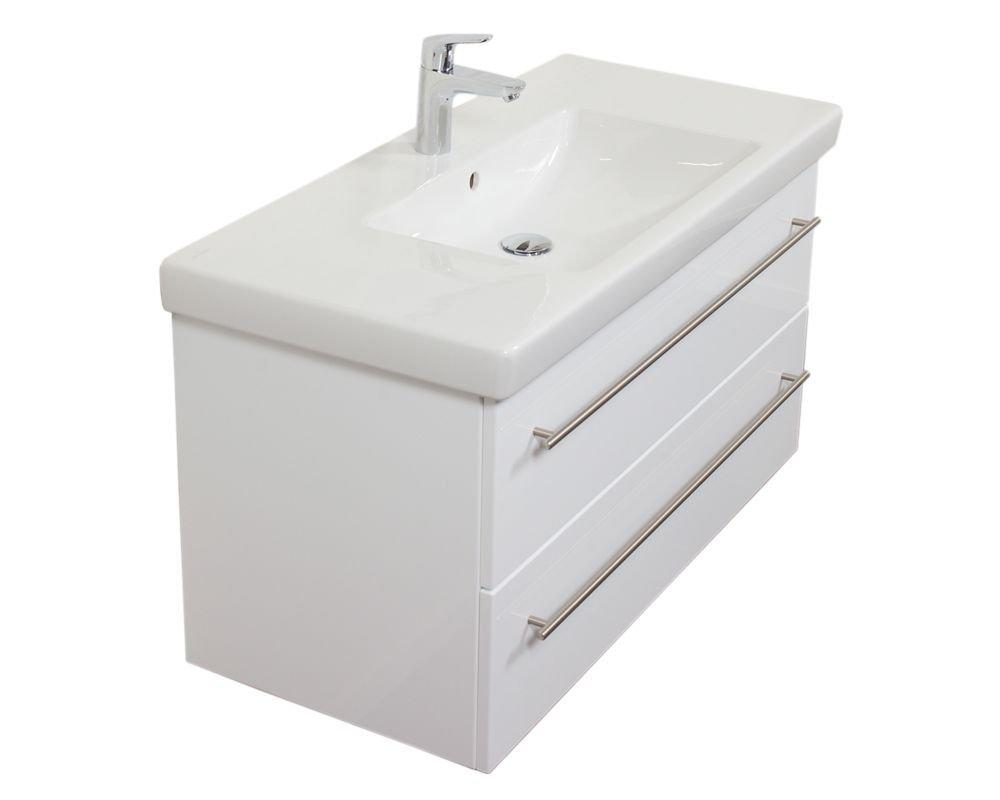 Emotion SUBWAY2-0-100CM000101DE Waschbecken mit Unterschrank, Holz, weiß hochglanz, 95 x 50 x 44 cm