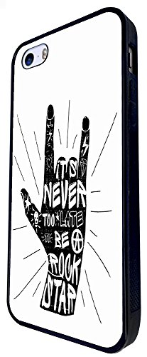 792 - Never Too Late To Be A Rock Star Hand Design iphone SE - 2016 Coque Fashion Trend Case Coque Protection Cover plastique et métal - Noir