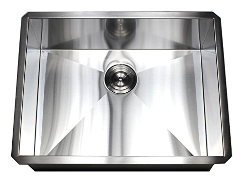 ARIEL F2620 26 Inch Zero Radius Design 16 Gauge Undermount Single Bowl Stainless Steel Kitchen Sink (26 Kitchen Undermount Sink)