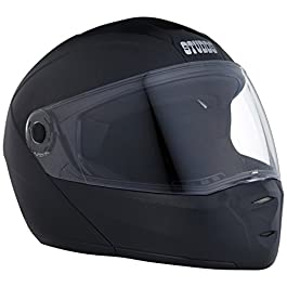 Studds Ninja ELITE Flip Up Full Face Helmet with Plain Center Strip (Black, x-large)