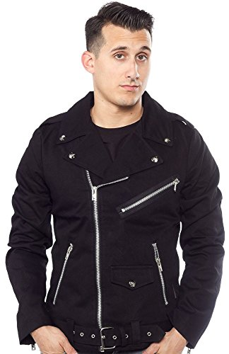 Denim Biker Jacket (Tripp Gothic Motorcycle Biker Heavy Metal Moto Punk Rocker Denim Coat Jacket (S))