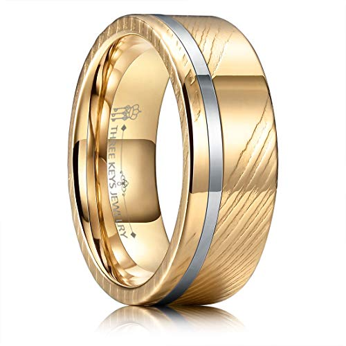 - THREE KEYS JEWELRY 8mm Damascus Steel Mens Wedding Ring Domed Rose Gold Wood Grain Silver Offset Inlay Wedding Band Engagement Ring Size 13
