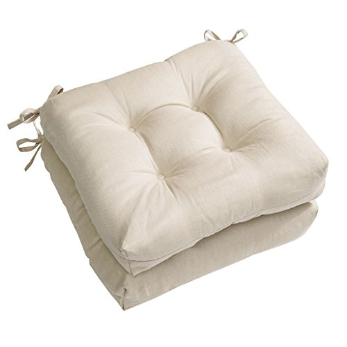 Madison Park Ridge Square Chair Pad Pair 100% Soft Linen Fabric Seat Cushion with Polyester Filling for Dining Office and Living Room, 16