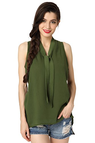 Women's Sleeveless Blouse (Green) - 6