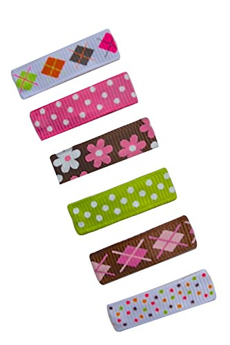 No Slip Baby Snap Hair Clip Set By Funny Girl Designs (Argyle Baby Snap) (Ribbon Grosgrain Argyle)