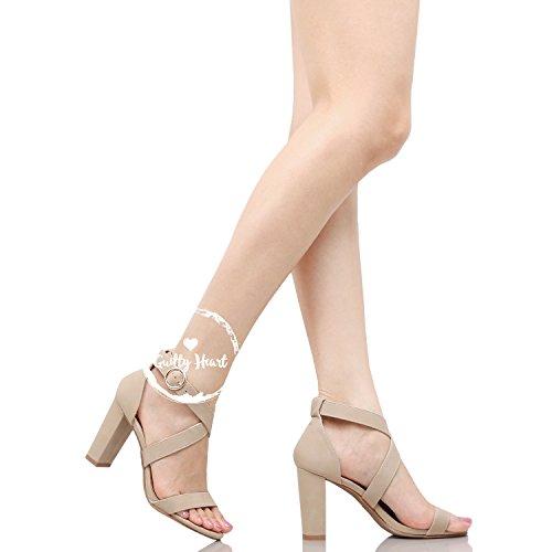 Heart Chunky Pu Block Beigev2 Open Ankle Toe Sandals Strap Womens Guilty Comfortable Walking Heeled HpwqHd