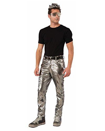 Robot Man Adult Costumes (Forum Mens Futuristic Silver Pants Standard)