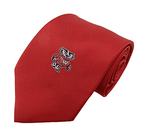 - NCAA Wisconsin Badgers Solid Necktie with Bucky Logo, Red, One Size