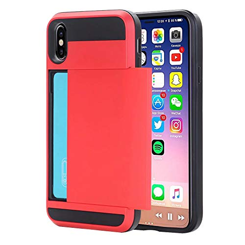 Christmas Hot Sale!!!Kacowpper Armor with Card Wallet Holder Slot Phone Case Cover Compatible iPhone XS/XS Max/XR