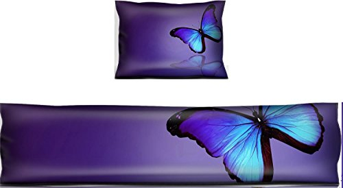 - Liili Mouse Wrist Rest and Keyboard Pad Set, 2pc Wrist Support Morpho blue butterfly on dark blue background IMAGE ID 14372747