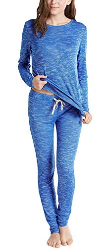(Ink+Ivy Cotton Modal Winter Pajamas for Women, Thermal Underwear Set with Picot Trim Top & Leggings, Blue XXL)