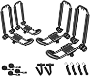 DrSportsUSA One Pair Fold Down J Bar Kayak Rack Designed mounts to virtually All crossbars and Load Bars Doubl