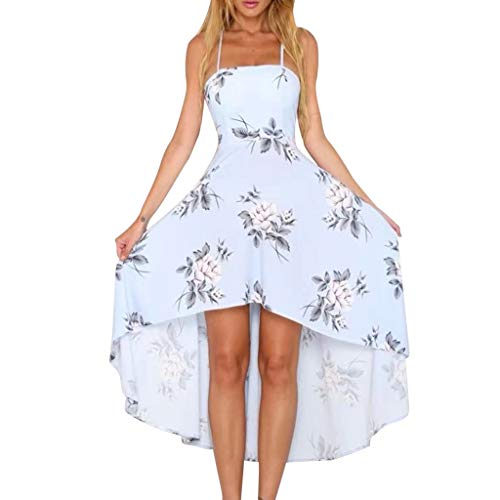 (Sunday88 Women Strapless Strapless Backless Printed Slim Spaghetti Dress Casual Loose Midi Dress Light Blue)