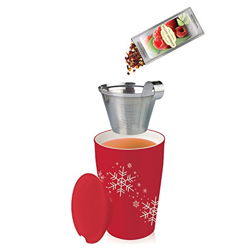 Tea Forté KATI Cup Ceramic Tea Brewing Cup with Infuser Basket and Lid for Steeping, Loose Leaf Tea Maker, Red Snowflake by Tea Forte (Image #3)