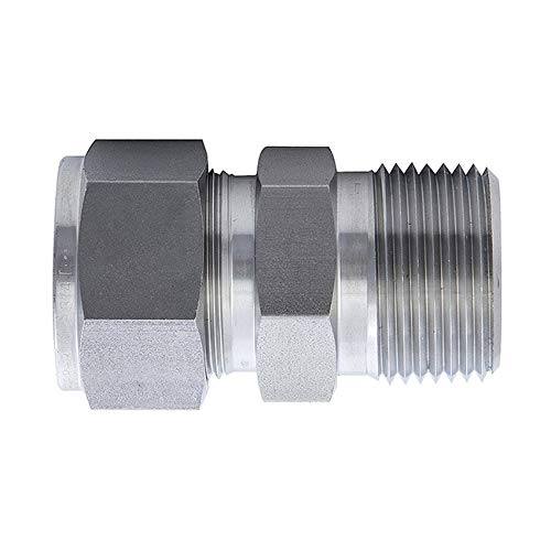 Stainless Steel 316L Compression Ferrule Fittings,Two Ferrule Tube Fittings,Connector,Adapter,3//8 NPT Male x 3//4 Tube OD