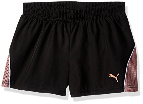 PUMA Little Girls' Pacer Mesh Overlay Shorts, Black, 5