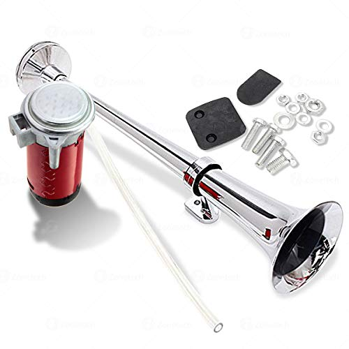 Zone Tech 12V Single Trumpet Air Horn - Premium Quality Single Trumpet Air Horn Chrome + Compressor Super Loud 150db for Truck Lorry Boat Train