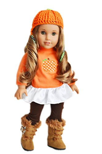 Brittany's Fall Pumpkin Outfit Compatible with American Girl Dolls- 18 Inch Doll Clothes (Brittany Doll)