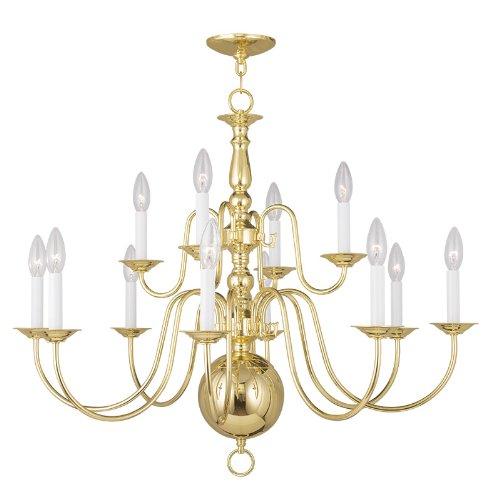 Livex Lighting 5014-02 Williamsburg 12-Light Chandelier, Polished Brass