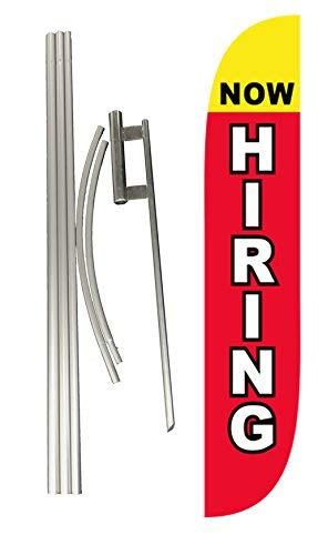 LookOurWay Now Hiring Feather Flag Red Complete Set with Poles & Ground Spike (Renewed) by LookOurWay