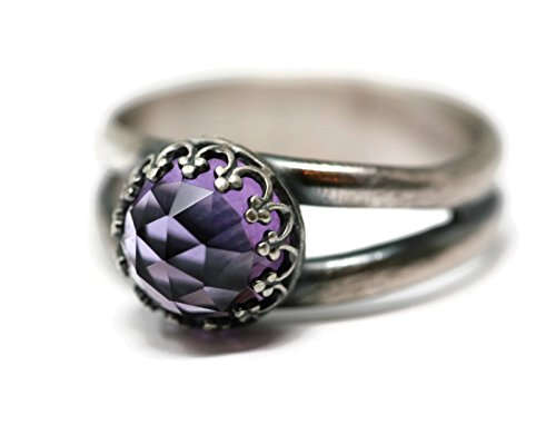 Size 9 Rose Cut Amethyst Crystal Antique Sterling Silver for sale  Delivered anywhere in USA
