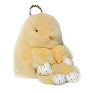 RitzyBay Handmade Rex Rabbit Fur Bunny Keychain with RitzyBay GiftBox