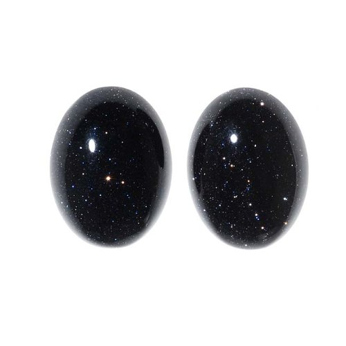 Oval Gemstone - Beadaholique Blue Goldstone Gemstone Oval Flat-Back Cabochons 18x13mm (2 Pieces)