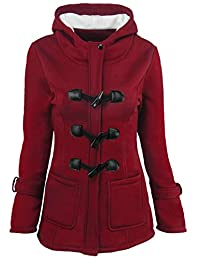 Domple Women's Autumn Winter Classic Outdwear Wool Blended Hooded Pea Jacket