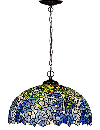 Chandeliers,Magcolor Tiffany Style Stained Glass Purple Wisteria Hanging Lamp with 20 inches Handmade Lampshade, Suitable for Decorating Room ()