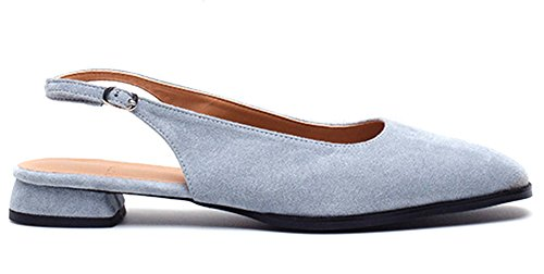 TAGTRAUME Square Toe Low Heel Light Blue Slingback Flats Shoes for Women 7.5 ()