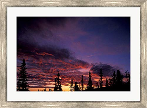 Dome Midnight (Solstice Sunset ATOP Midnight Dome, Dawson City, Yukon, Canada by Paul Souders/Danita Delimont Framed Art Print Wall Picture, Silver Scoop Frame, 38 x 28 inches)