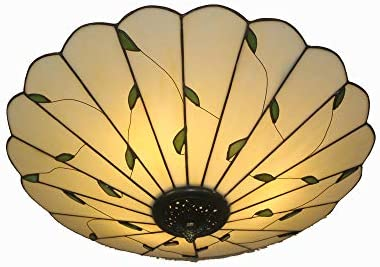 16 Inch Tiffany Style Leaf Glass Ceiling Light Fixture Classical Lamp LED Chandelier