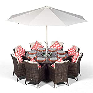 Savannah Garden Rattan Dining Set 8 Seater with Parasol and Drinks Cooler