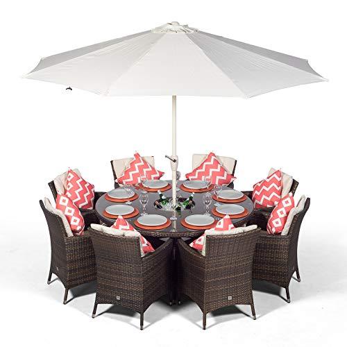 Savannah Garden Rattan Dining Set 8 Seater with Parasol and Drinks Cooler