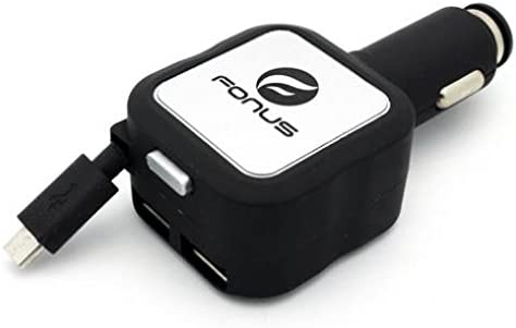 4.8AMP RETRACTABLE CAR DC CHARGER DUAL USB w FAST QC PORT For iPHONE iPAD iPOD