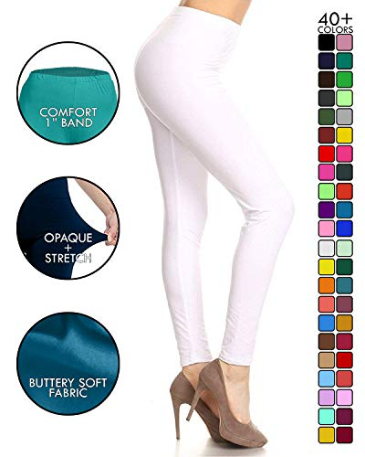 Leggings Depot Ultra Soft Basic Solid Plain Best Seller Leggings Pants (One Size (Size 0-12), White) ()