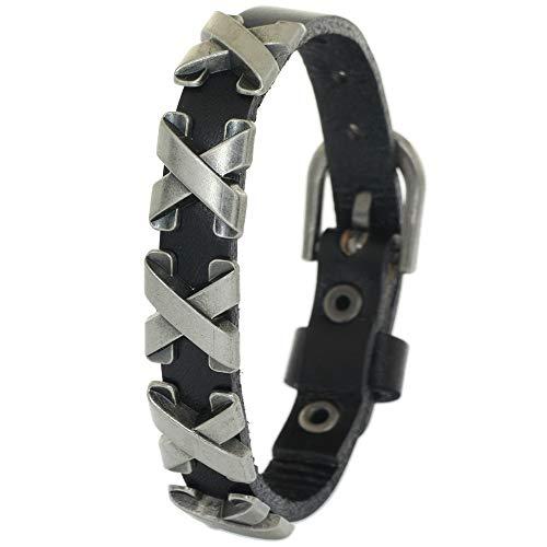 BRLTime Punk Unisex Genuine Leather Belt Bracelet Rivet Stud Cuff Wristband Bangle Women Men Adjustable Cowhide Bracelet Jewellery