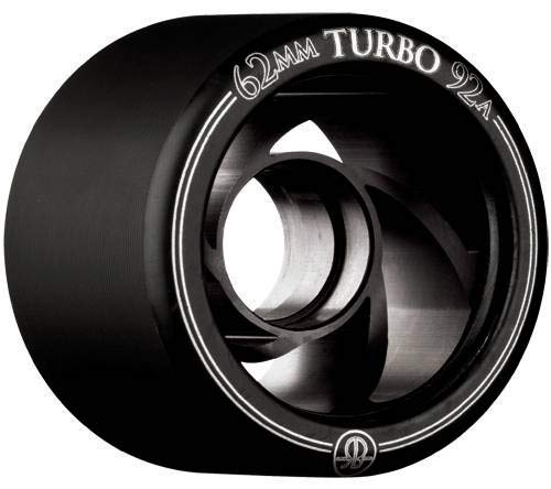 (Rollerbones Turbo 92A Speed/Derby Wheels with an Aluminum Hub (Set of 8), 62mm, Black)
